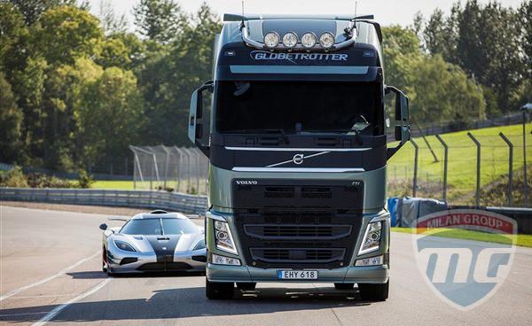 Volvo FH против самого быстрого суперкара Koeniggsegg One:1